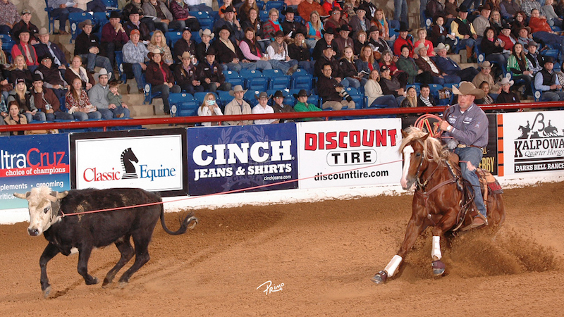 Corey Cushing roping a steer at World Greatest