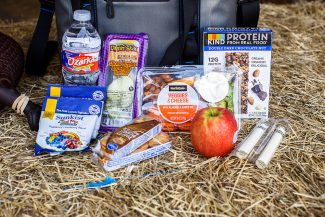 healthy snacks spread out on haybale