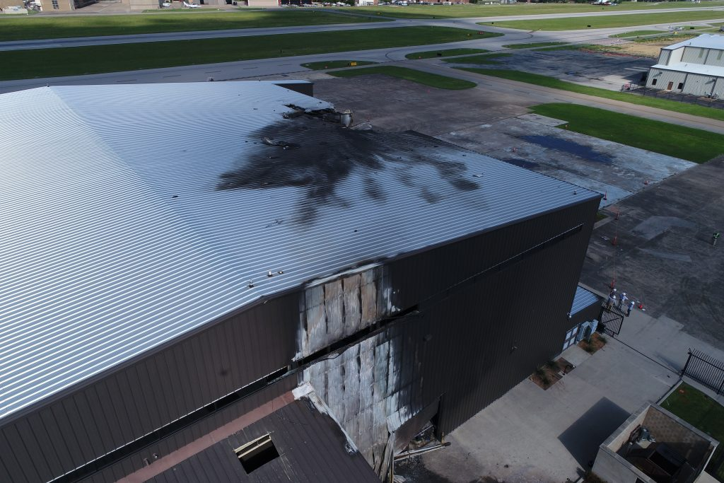 damaged airport hangar