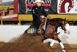 Franco Bertolani sliding to a stop aboard Hollys Hijacker a top contender for the 2019 NRHA Futurity
