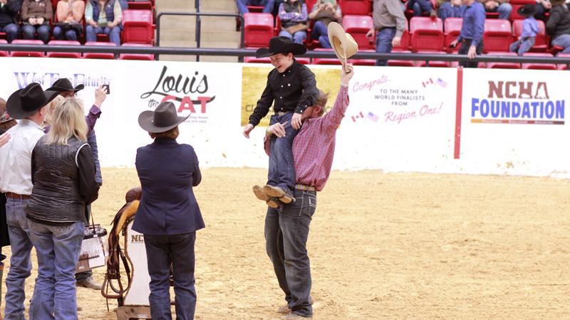 aden bernhagen celebrates $2,000 Limit Rider Championship