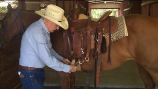 Dennis Moreland demonstrating proper unsaddling technique