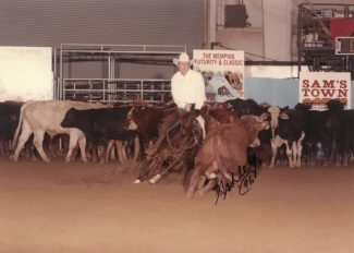 Olena Dually and Charles Spence work a cow in Memphis, Tennessee