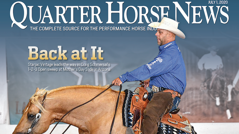 Quarter Horse News magazine july 1, 2020, cover snippet