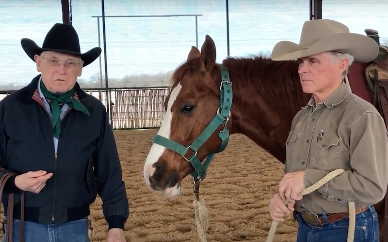 Dennis Moreland & Clay Johns demonstrating how to hang your reins and unbridle a cutting horse